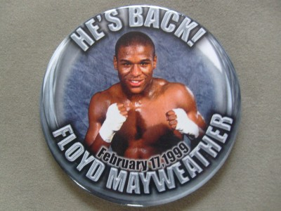 Floyd Mayweather Jr RARE Pin Button Issued Onsite On Return To His Home Town  Of Grand Rapids Against Carlos Alberto Ramon Rios