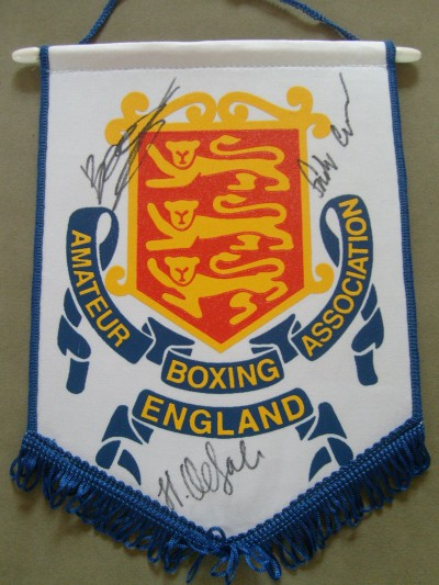 ... Joe Saunders Signed Rare Amateur Boxing Association of England Pennant
