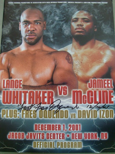 Fres Oquendo vs David Izon Official Onsite Programme SIGNED And INSCRIBED Also DATED By Fres Oquendo