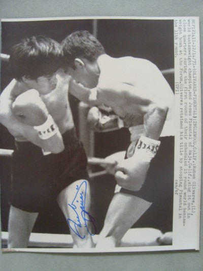 Ruben Olivares Considered By Many As The Greatest Bantamweight Of All Time SIGNED Laser Photo Against Jesus Pimental
