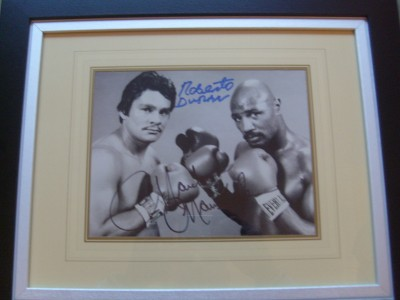 Marvelous Marvin Hagler And Roberto Duran DUAL SIGNED 1983 Middleweight Title Promotional Pre Fight Photo