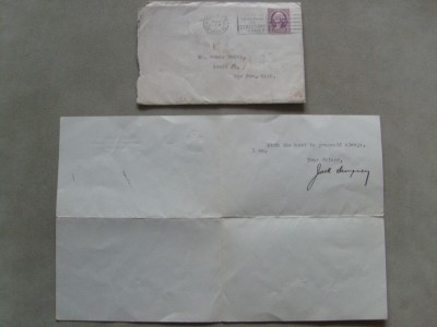 Jack Dempsey SIGNED Typed Letter To Former Opponent Homer Smith Accompanied With Addressed 1934 Franked Envelope