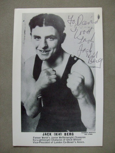 Jack Kid Berg Former 1930s World Light Welterweight And British Lightweight Champion SIGNED And INSCRIBED Promotional Photo
