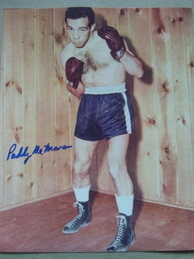 Paddy DeMarco Former 1950s Lightweight World Champion SIGNED Boxing Pose Photo