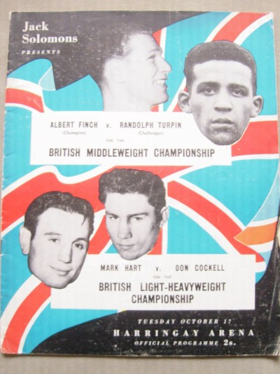 Albert Finch vs Randolph Turpin For The British Middleweight Championship Offical Onsite Programme Plus Mark Hart vs Don Cockell