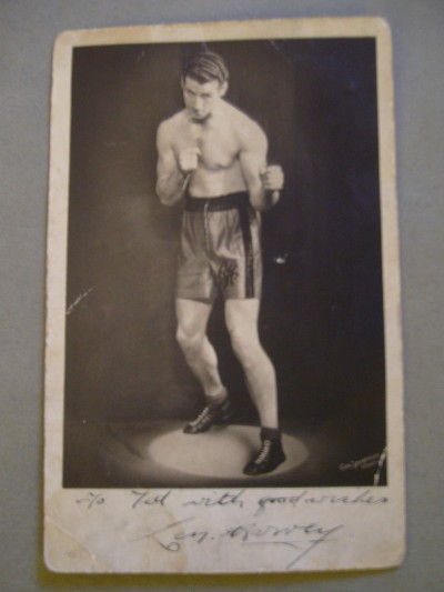 Len Harvey Former 3 Weight British And 2 Weight Commonwealth Champion And Hall Of Famer SIGNED and INSCRIBED Postcard