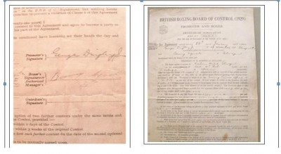 ULTRA RARE Benny Lynch SIGNED Original BBBC 1937 Fight Contract For His Bout Against Fortunato Ortega