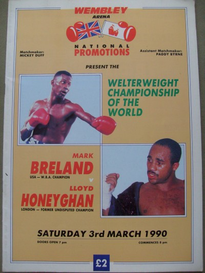 Mark Breland vs Lloyd Honeyghan WBA World Welterweight Title DUAL SIGNED Official Onsite Programme