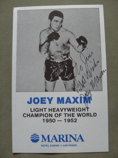 Joey Maxim Former 1950 to 1952 Light Heavyweight World Champion  SIGNED And INSCRIBED Promotional Photo