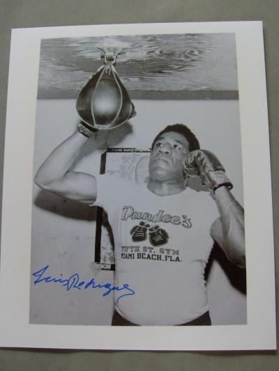 Luis EL FEO Rodriguez Former WBC And WBA Welterweight World Champion And Hall Of Famer SIGNED Training Shot Photo