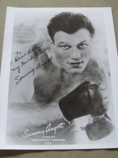 Sammy Angott Former 1940s 2 x Lightweight World Champion And Hall Of Famer SIGNED And INSCRIBED Promotional Photo