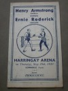 RARE Henry Armstrong vs Ernie Roderick 1939 World Welterweight Title Also Featuring Chalky Wright vs George Daly Official Onsite Programme