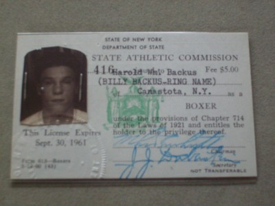 Billy Backus Former Welterweight World Champion SIGNED Original 1961 New York State Boxing License