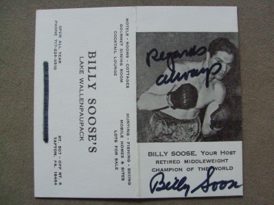 Billy Soose Former 1941 Middleweight World Champion And Hall Of Famer SIGNED Business Card