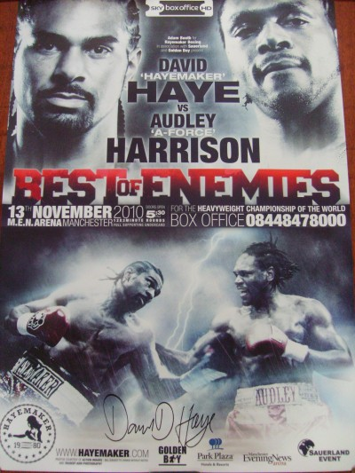David Haye vs Audley Harrison WBA Heavyweight Championship Of The World Official Onsite Poster SIGNED By David Haye