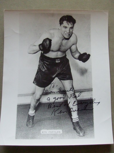 Ken Overlin Former 1940 Middleweight World Champion SIGNED And INSCRIBED Boxing Pose Photo