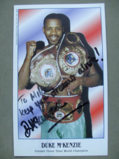 Duke McKenzie Former 3 Weight World Champion SIGNED And INSCRIBED Promotional Photo