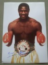 Dennis Andries Former 3 x WBC Light Heavyweight World Champion SIGNED And INSCRIBED Boxing Pose Photo