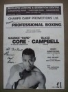 Maurice Core vs Glazz Campbell Official Onsite Programme Also Featuring Other MANCHESTER Fighters SIGNED And INSCRIBED By Maurice Core