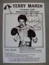 Terry Marsh Former Undefeated IBF Light Welterweight World Champion SIGNED And INSCRIBED Promotional Photo