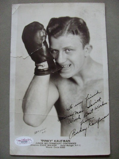Pinky Kaufman Junior Welterweight Contender Rated 5th In The World Between 1929 to 1930 SIGNED And INSCRIBED Promotional Photo