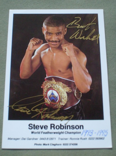 Steve Robinson Former WBO Featherweight World Champion SIGNED And INSCRIBED Promotional Photo