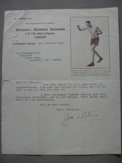 Jack Petersen Former British And Commonwealth Heavyweight And British Light Heavyweight Champion SIGNED 1936 Picture Image Typed Letter