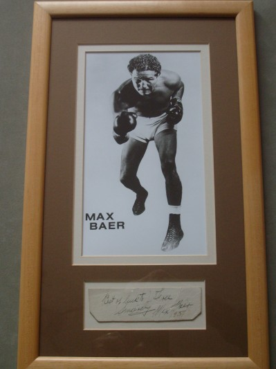 Max Baer INSCRIBED And DATED Cut Signature