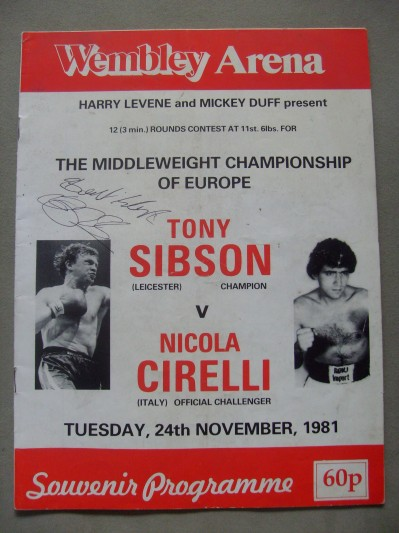 Tony Sibson vs Nicola Cirelli European Middleweight Championship Official Onsite Programme SIGNED And INSCRIBED By Tony Sibson