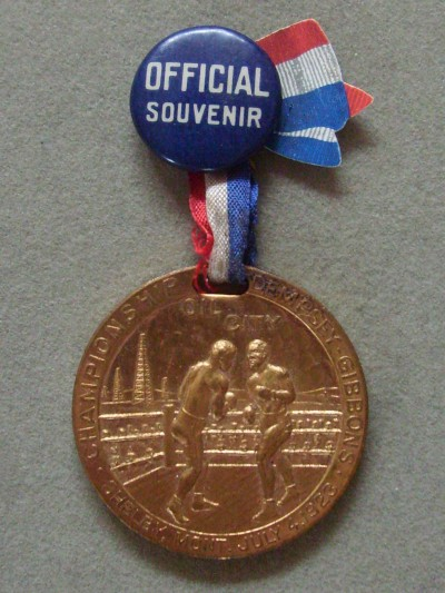 RARE Jack Dempsey vs Tommy Gibbons 1923 World Heavyweight Title Official Souvenir Gold Medallion