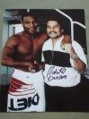 Roberto Duran Iconic Ring Legend SIGNED Handshake Photo With A Young Mike Tyson