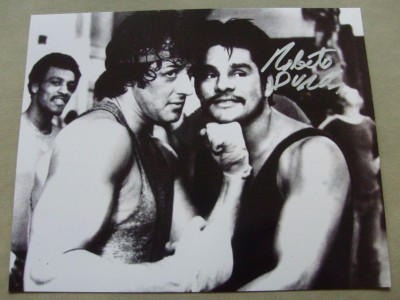 Roberto Duran Regarded As One Of The Greatest Fighters Of All Time SIGNED Boxing Pose Photo Alongside Sylvester Stallone