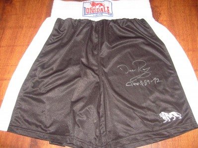 Irish Sensation Dave Boy McAuley Former IBF Flyweight World Champion SIGNED And INSCRIBED CHAMP 89 to 92 Lonsdale Trunks