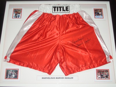 Marvelous Marvin Hagler Former Undisputed Middleweight World Champion 1980 to 1987 And Hall Of Famer SIGNED Title Trunks
