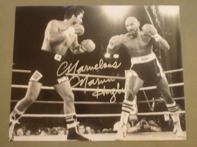 Marvelous Marvin Hagler Former Undisputed Middleweight World Champion SIGNED Action Shot Photo Against Fellow Hall Of Famer Roberto Duran