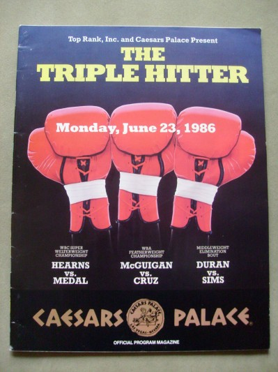 Thomas Hearns and Roberto Duran Plus Barry McGuigan Official Onsite Programme Billed The Triple Hitter