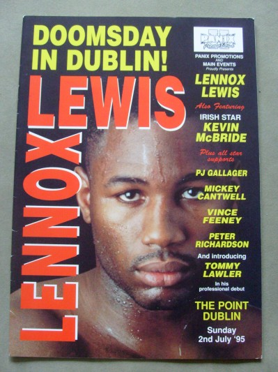lennox lewis poster. lennox lewis vs justin fortune official onsite programme poster