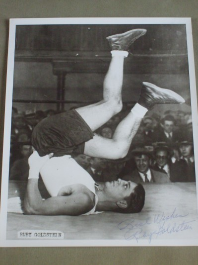 RARE Ruby Goldstein The JEWEL OF THE GHETTO Former Welterweight And Referee And Hall Of Famer SIGNED And INSCRIBED Training Shot Photo