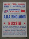 England vs Russia 1962 ABA International Boxing Tournament Flyer Featuring Johnny Pritchett And Len Hobbs Representing England