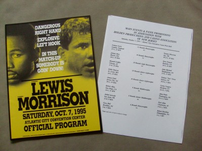 Lennox Lewis vs Tommy Morrison Also Featuring Arturo Gatti vs Carlos Vergara Official Onsite Programme Plus Bout Sheet