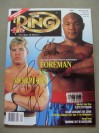George Foreman And Tommy Morrison DUAL SIGNED Ring Magazine Featuring Their WBO Heavyweight World Title Fight