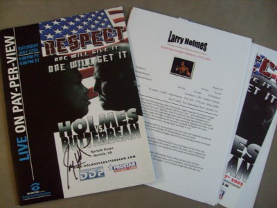 Larry Holmes vs Eric BUTTERBEAN Esch Heavyweight Contest Which Was To Be Holmes Last Fight Official Press Pack SIGNED By Larry Holmes