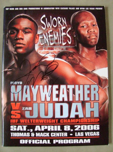 Floyd Mayweather Jr vs Zab Judah IBF Welterweight World Title Official Onsite Programme SIGNED By Floyd Mayweather Jr