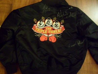 Ray Mercer And Alfred Cole SIGNED And DATED Triple Threat Enterprises Boxing Team Custom Made Jacket Also Additional Autograph Of Harold Johnson