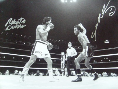 Roberto Duran vs Sugar Ray Leonard II DUAL SIGNED WBC Welterweight World Title Action Shot Photo