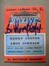 Henry Cooper vs Amos Johnson Programme Career History Collectors Card SIGNED By Sir Henry Cooper