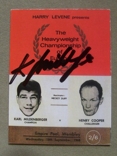 Henry Cooper vs Karl Mildenberger European Heavyweight Title Programme Career History Collectors Card SIGNED By Karl Mildenberger