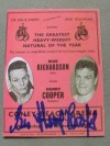 Henry Cooper vs Dick Richardson I Programme Career History Collectors Card SIGNED By Sir Henry Cooper
