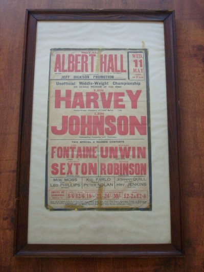 Len Harvey vs Len Johnson II EXTREMELY RARE Piece Of British Boxing History And Political Colour Bar Ignorance Middleweight Title 1932 Onsite Poster