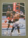 Marvelous Marvin Hagler SIGNED Action Shot Oversized Photo Against Sugar Ray Leonard Which Was Voted 1987 Fight And Upset Of The Year
